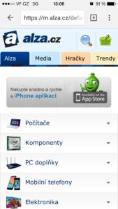 Web Alzy s mobilní verzí